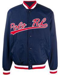 Polo Ralph Lauren Embroidered Logo Bomber Jacket - Blue