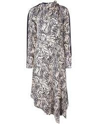 Proenza Schouler Zebra Print Long Sleeve Scarf Dress - White