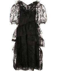 Simone Rocha Floral Lace Midi Dress - Black