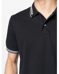 Emporio Armani ロゴストライプ ポロシャツ - ブラック