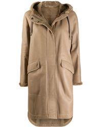 Brunello Cucinelli Пальто С Капюшоном И Подкладкой Из Овчины - Естественный