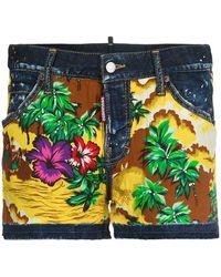 DSquared² - Hawaiian Print Denim Shorts - Lyst