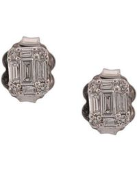 Sara Weinstock - 18kt White Gold Small Illusion Emerald Cut Studs - Lyst