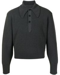 Maison Margiela リブニット ポロシャツ - グレー