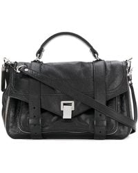 Proenza Schouler Ps1+ Medium Zip-paper Leather Satchel Bag - Black