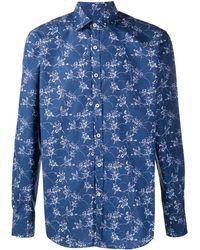 Canali Рубашка С Цветочным Принтом - Синий