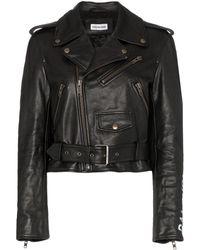 Balenciaga グラフィティ レザージャケット - ブラック