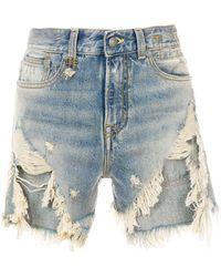R13 Mini-short en jean à effet usé - Bleu