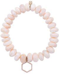 Sydney Evan - Pink Moonstone Beaded Bracelet With Diamond Hexagon Charm - Lyst