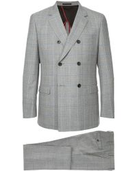 Loveless - Double Breasted Grid Print Two Piece Suit - Lyst