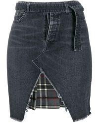 Unravel Project Denim And Plaid Asymmetric Skirt - Black
