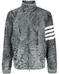 Thom Browne Shearling-Jacke mit Logo-Streifen - Grau