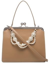Simone Rocha - Nude Faux Pearl-trimmed Leather Bag - Lyst