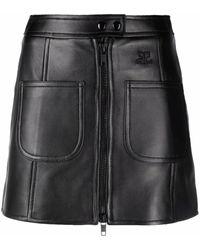 Courreges レザー ミニスカート - ブラック