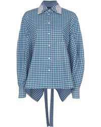ANOUKI オープンバック シャツ - ブルー