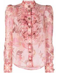Zimmermann Blouse Met Bloemenprint - Roze