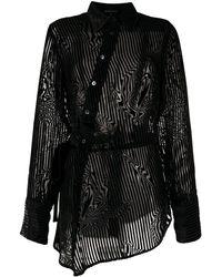 Ann Demeulemeester Полосатая Рубашка Асимметричного Кроя - Черный