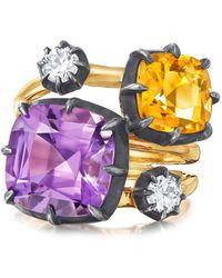 Fred Leighton Bague Collect en or 18ct ornée d'améthyste et diamants - Métallisé