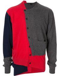 Kolor Cardigan en cachemire à design patchwork - Rouge