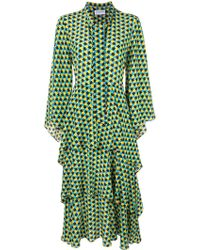 OSMAN プリント ドレス - グリーン