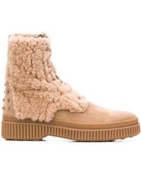 Tod's Shearling Ankle Boots - ナチュラル