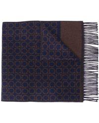 Ferragamo Écharpe à motif Gancini - Bleu