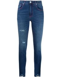 Frankie Morello Distressed Mid-rise Skinny Jeans - Blue