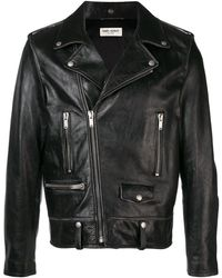 Saint Laurent Studded slogan biker jacket - Noir