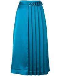 MSGM - Chain-embellished Pleated Skirt - Lyst