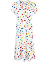 HVN Charlotte Cherry Print Shirt Dress - White