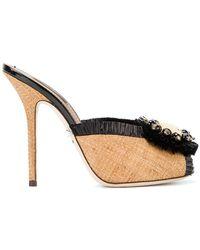 Dolce & Gabbana - Embellished Raffia Mules - Lyst