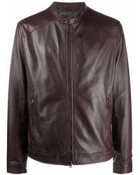 Etro Zip-up Leather Bomber Jacket - Red