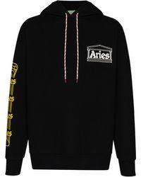 Aries Temple ドローストリング パーカー - ブラック