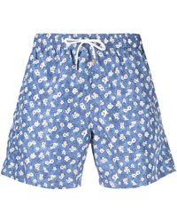 Canali Floral-print Drawstring Swim Shorts - Blue