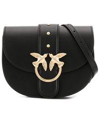 Pinko Sac porté épaule à plaque logo - Noir