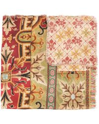 Pierre Louis Mascia Combined Mixed-print Silk Scarf - Red