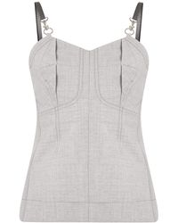 3.1 Phillip Lim WOOL CHAMBRAY BUSTIER TANK - Gris