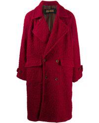 Uma Wang Manteau texturé à boutonnière - Rouge