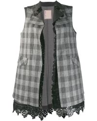 Antonio Marras - Checked Lace Trim Waistcoat - Lyst