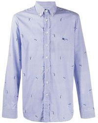 Etro Camisa con motivo de cuadros gingham - Azul