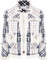 Edward Achour Paris Veste en tweed frangée à carreaux - Blanc