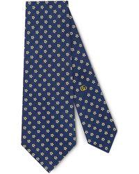 Gucci Tiger Underknot Silk Tie - Blue