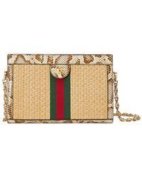 Gucci Ophidia Straw Small Shoulder Bag - Multicolour