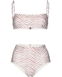 Cloe Cassandro Bikini Tahiti a righe - Bianco