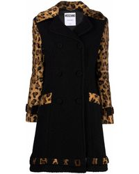 Moschino Leopard-print Bouclé Double-breasted Coat - Black