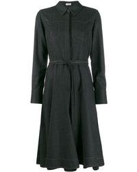 Brunello Cucinelli Платье-пальто С Декоративной Строчкой - Черный