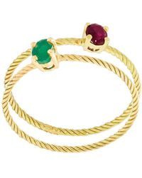 Wouters & Hendrix - Emerald & Ruby Set Of Rings - Lyst