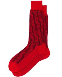Prada Superfine Wool Ankle Socks - Red