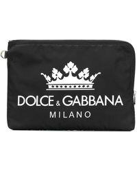Dolce & Gabbana Logo Print Clutch Bag - Black