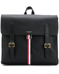 Thom Browne Rwb Stripe Unstructured Book Bag - Black